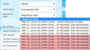 May 2016 Schedule of 2Go for Manila to Dumaguete