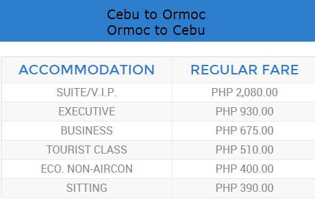 roble shipping fare cebu to ormoc
