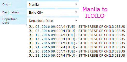 2Go Schedule Manila to Iloilo July 2016