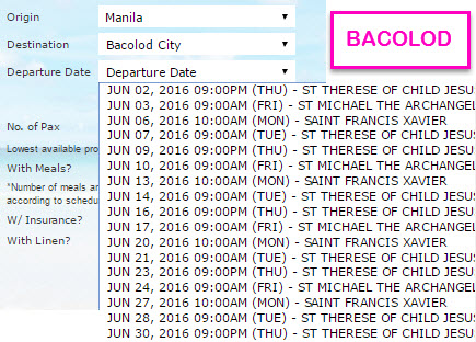2Go Travel schedule June 2016 to Bacolod City