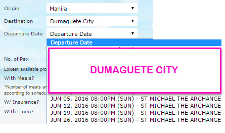 June 2016 Schedule 2Go Superferry Manila to Dumaguete