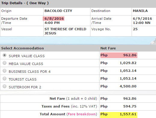 Superferry Price Bacolod to Manila