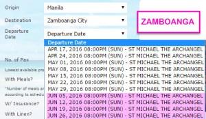 Superferry Schedule to Zamboanga