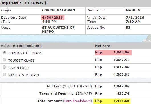 Coron to Manila 2Go Ticket Price