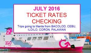 2Go Boat Fare to Manila