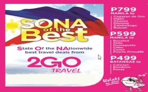 2Go Promo for July and August 2016 – SONA Promo Fare ng Superferry!