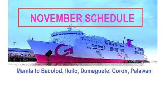 2Go November Schedule Bacolod Iloilo Dumaguete Coron Puerto Princesa