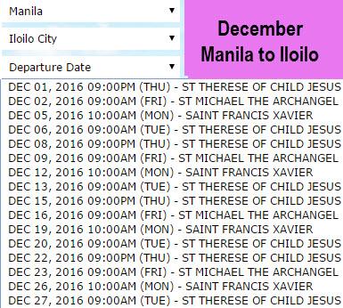 December 2Go Manila to Iloilo