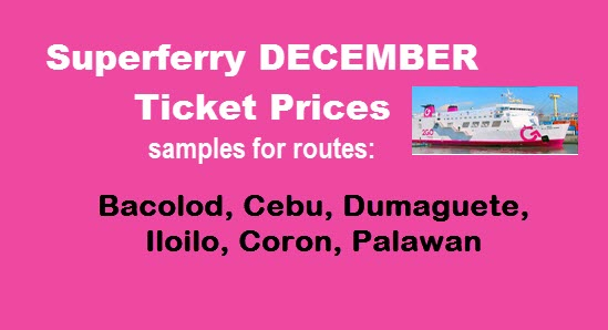 Superferry December Ticket Rates Visayas