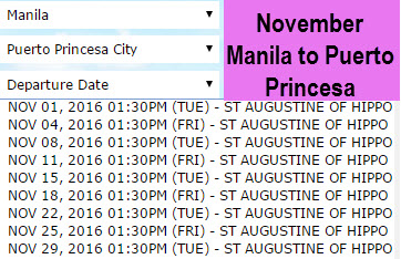 Superferry Manila to Puerto Princesa November Schedule
