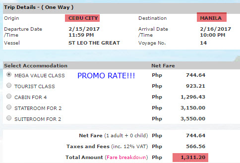 2017 2Go Promo to Cebu