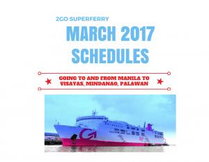 2017 2Go Schedules Cebu Bacolod CDO Dumaguete Iloilo Coron Iligan etc