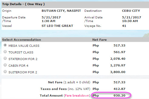 2Go Butuan to Cebu ticket price