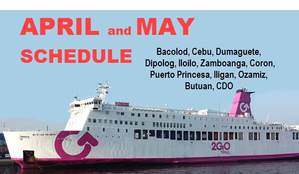2Go Travel Schedule April and May 2017