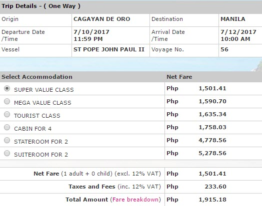 2GO Travel Ticket price Cagayan de Oro to Manila