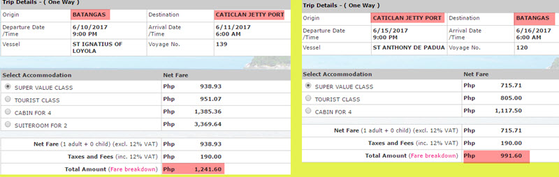 2Go Travel Rates Batangas to Caticlan Boracay vice versa