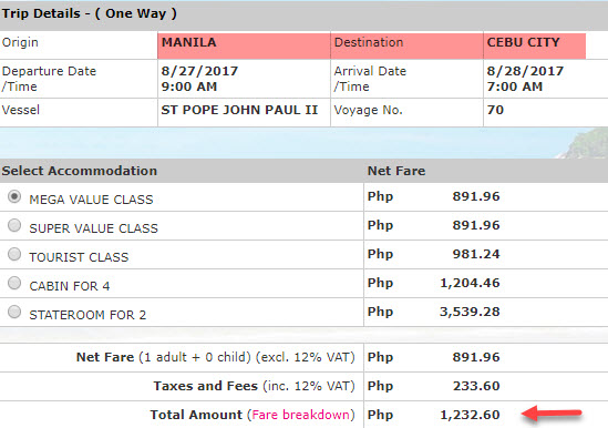 2go manila to cebu ticket price august 2017