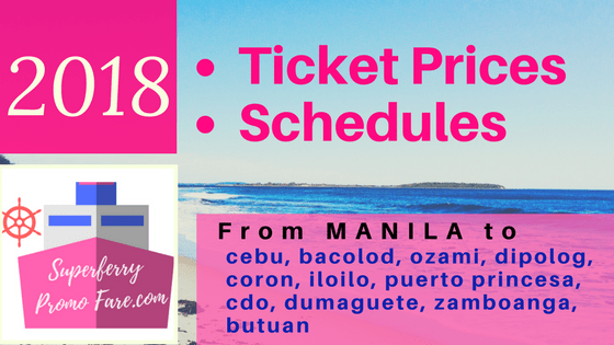 2018 2Go ticket prices and schedules