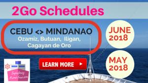 2Go Travel Schedules Cebu to Mindanao