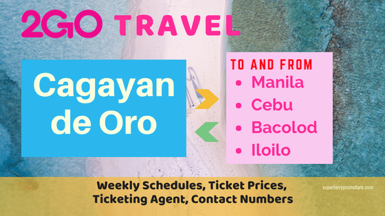2go schedules cagayan de oro routes