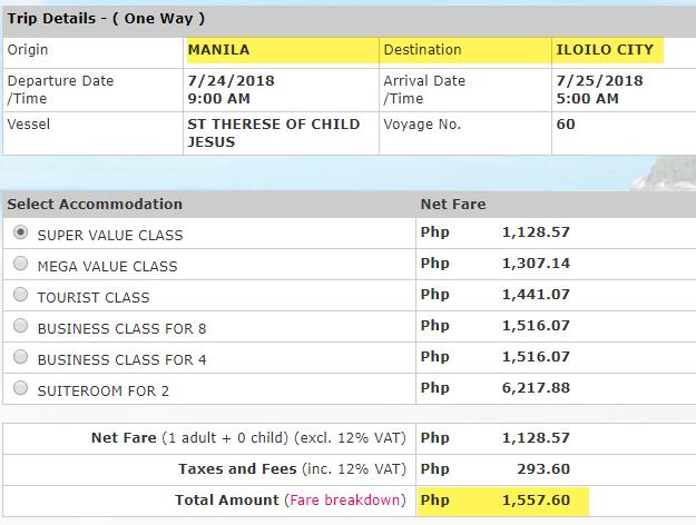 Rate Manila to Iloilo July 2018