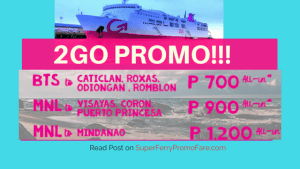 Promo of 2Go Travel for August and September 2018