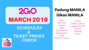 2go travel schedules march 2019