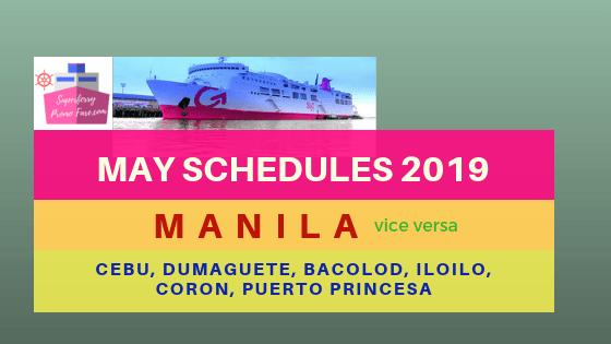 2go may 2019 schedules