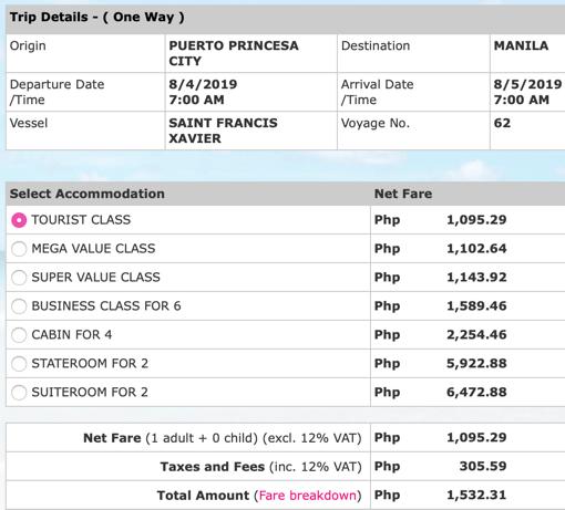Puerto Princesa to Manila fare August 2019 on 2Go