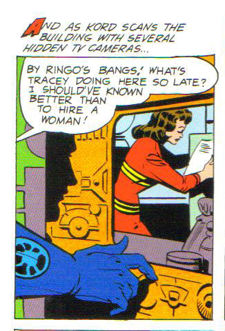 Ted Kord's snoopy secretary Tracey in action