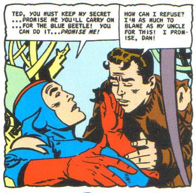 Dan Garret dies while Ted Kord pledges to keep the Blue Beetle alive!
