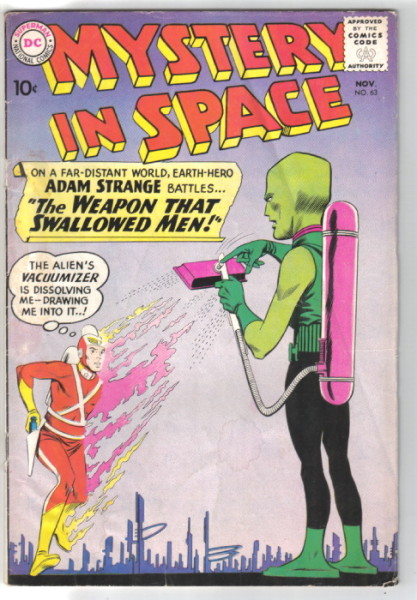 Adam Strange is vacuumed up in Mystery in Space #63!