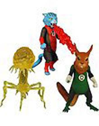 Ragecat Dex-Starr, B'dg, and Despotel, a creepy looking virus guy