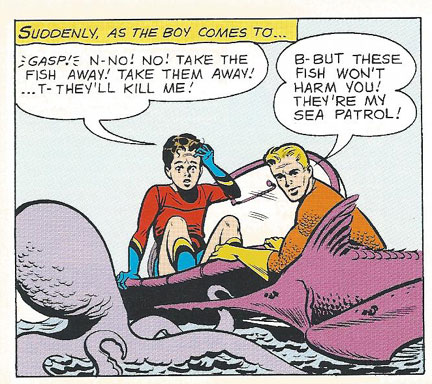 Aqualad is scared of fish!
