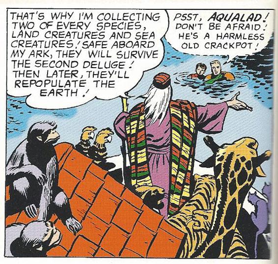 Captain Noah lectures Aquaman and Aqualad