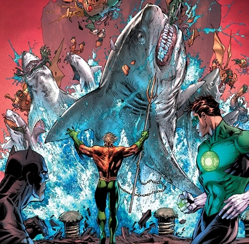 Aquaman summons sharks