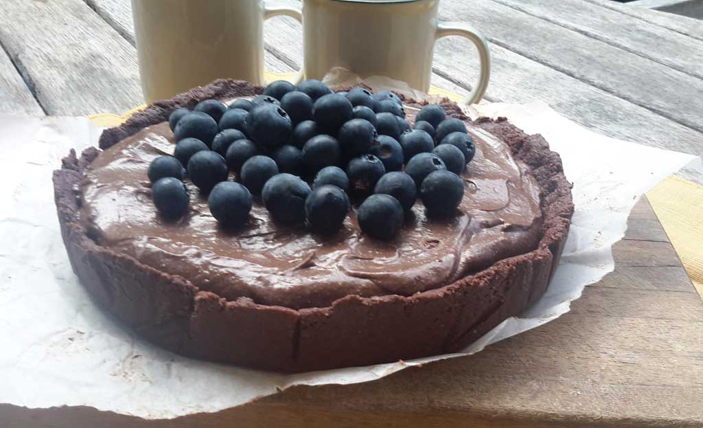 Chocolate Mousse Torte made with Cacao Powder