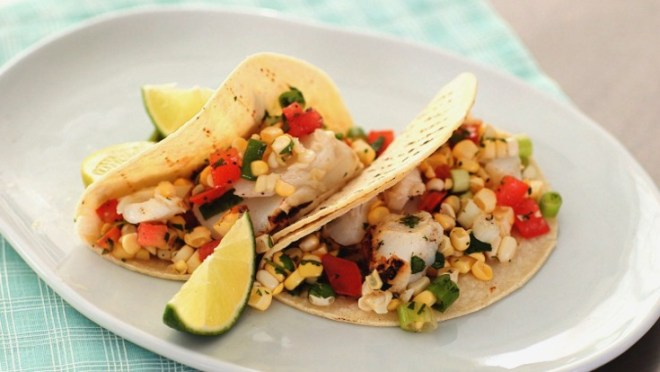 grilled lime fish tacos with corn salsa