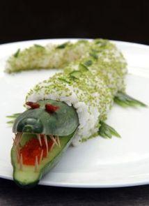 komkommer sushi krokodil