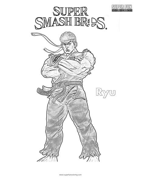 ryu super smash brothers coloring page  super fun coloring