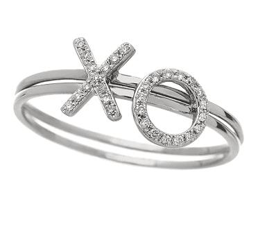 14K White Diamond XO Ring Set