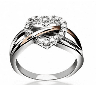 Sterling Silver Pave CZ Heart Ring with Gold Vermeil Accent