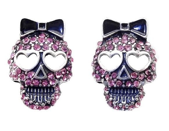 DaisyJewel Pink Crystal Skull Earrings Top Seller Sparkle Sugar Skull Calavera Studs Sugar Skull Jewelry Jewelry