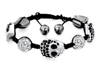 Shamballa Bracelet Halloween Skull Black Rhinestone Crystal Bracelet