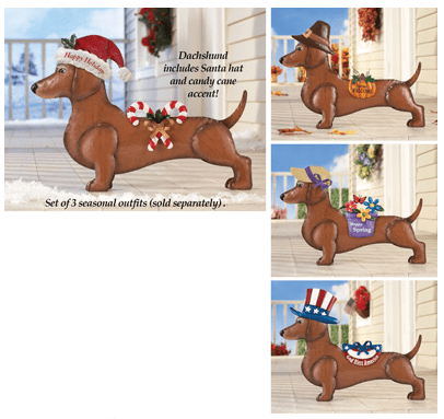 Seasonal Dachsund Dress up Outdoor Decoration from Collections Etc.