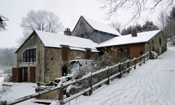 Water mill in the Snow