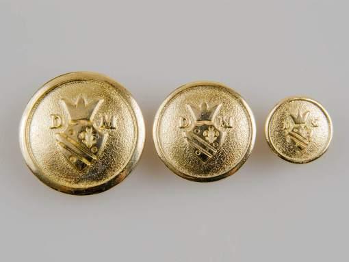 Guzik z herbem i koroną kolor złoty śr. 27, 22 i 15 mm