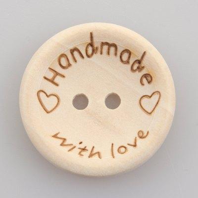 Guzik drewniany 2 dziurki Handmade with love 25 mm