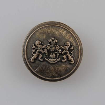 Guzik z herbem i dwoma lwami kolor stara miedź śr. 22 mm