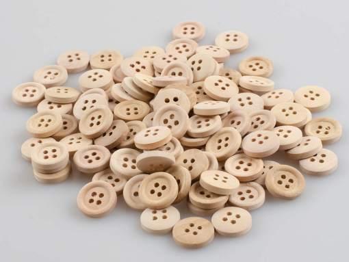 Guzik drewniany z obrzeżem 2 mm, 2 dziurki, śr. 15 mm DIY